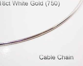 18ct 18K 750 Solid White Gold Cable Chain Necklace Jewellery - PS68