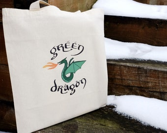 Green Dragon Tote / library book bag