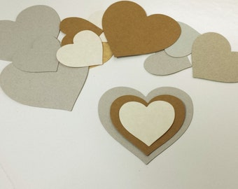 Diecut Hearts (30), Cardboard Hearts, Paper Heart, Ornament Base, Recycled Gift Tags, Children Craft, Swing tag, Eco-Friendly Table Scatters