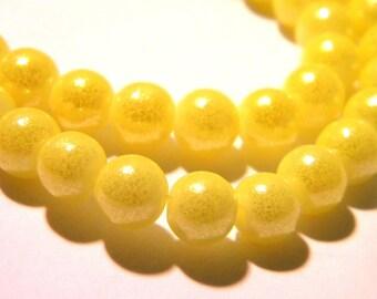 100 glass beads - 6 mm - Pearl - glass beads - glitter - effect yellow glass heart - G78