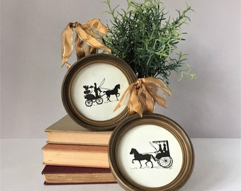 Vintage Silhouette Prints, Framed Silhouette Pictures, Horse and Carriage, Victorian Style Wall Decor, Round Framed Prints, 1800s Fashion