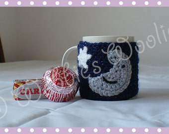 Crocheted Moon and Starry Sparkly Night Sky Mug Hug Cup Cozy by Liz