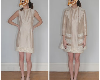 Vintage 50s/60s Cream Sheath Dress and Brocade Trim with Matching Jacket Two Piece Set by Lilli Ann | Small