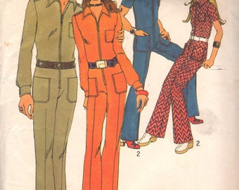 1970s Simplicity 9596 Misses Groovy JUMPSUIT Pattern for Knits Womens Vintage Sewing Pattern Size 14 Bust 36
