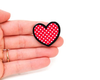 Valentine's Day Heart Polka Dot Brooch Pinback Button