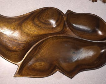 1960's Vintage Mid Century Genuine Monkey Pod Wood Hand Crafted by Leilani Divided Serving Tray