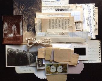 Neutral toned paper ephemera pack (125+ pieces)