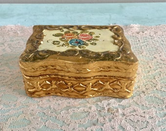 Florentine Trinket Box Gold Gilt Jewelry Box Made in Florence, Italy Shabby Chic