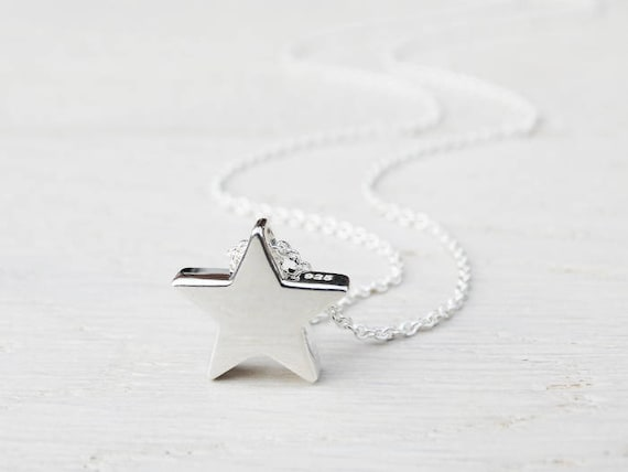 Silver Star Necklace - Solid Sterling Silver