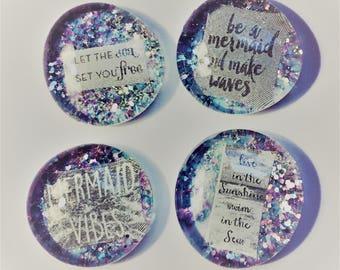 Set of 4 Pastel Ultra Sparkle Mermaid Magnets/Pins/Pendants