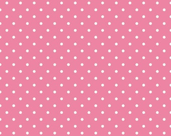20% OFF Riley Blake Basic White Swiss Dots on Hot Pink