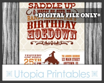 Birthday Hoedown Invitation Cowboy Theme Party Rustic Rodeo Country Western Old West Party Digital Printable Customized Red Brown Horse