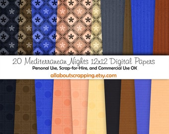 "12"" by 12"" COMMERCIAL Use Digital Scrapbooking Paper - Mediterranean Nights Digital Papers - Instant Download"