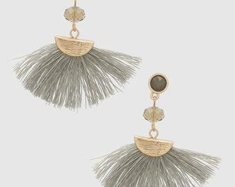 Grey Tassel Fan Earring-Free shipping