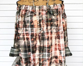 SIZE MEDIUM - Off Shoulder Distressed Flannel - Oxy Flannel - Shoulder Flannel - Distressed Flannel - Bleached Flannel #18
