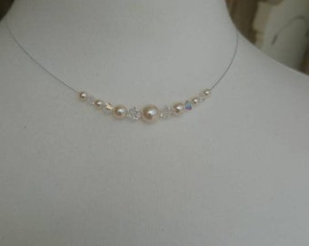 Swarovski pearl and crystal necklace with magnetic clasp
