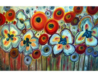 Flowers Whimsical Garden Original Painting on Canvas Ready to Ship Red Yellow White Pansies Poppies Floral 36x24
