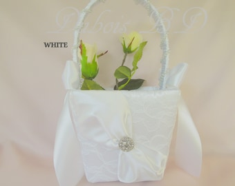 Lace flower girl basket, Flower girl basket, Ivory or White flower girl basket, Wedding basket, Wedding decorations