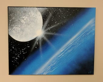 Canvas Painting Spray Paint Moon and Earth, Cosmos theme