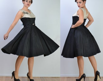 vintage 50s Party Dress | Silver Metallic FULL CIRCLE SKIRT Wedding Prom Dress | Rhinestone Bow