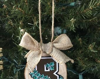 Wood slice ornaments, custom photo ornaments, wood slice photo ornaments, brown university ornaments, Christmas ornaments, Brown University