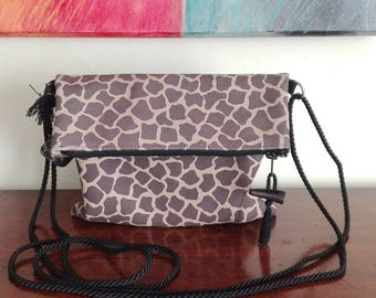 """Giraffe"" printed leather shoulder bag. Handmade in Italy."