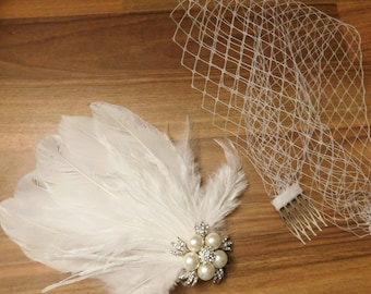 Birdcage veil, Bridal fascinator, Gatsby fascinator, 1920s wedding fascinator, Bridal feather fascinator Feather & Sparkly Jewel fascinator