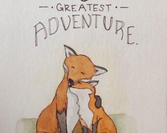 You Are My Greatest Adventure, foxes nursery art- original watercolor