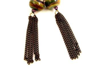 Raku Earrings, Lampwork Earrings, Green Earrings, Vintaj Brass Earrings, Long Earrings, Fringe Earings, Dangle Earrings, Shoulder Dusters