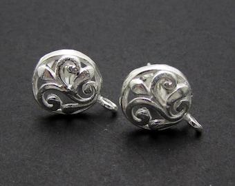 2 Pcs (1 Pair), Sterling Silver Ear Stud + Ear Nuts