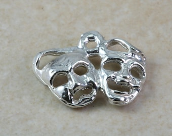 Venetian Mask Traditional Silver Charm, Made from Solid Cast Sterling Silver.