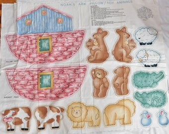 vintage NOAH'S ARK and ANIMALS pillow panel cut and sew