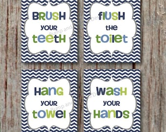 BATHROOM WALL ART Wash your hands Brush your teeth Hang your towel Flush the toilet Instant download Printable Bathroom Decor Navy Chevron 1