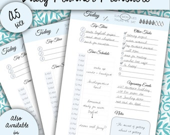 Daily Planner A5 Printable (Blue and Black & White), Schedule, Day Organizer