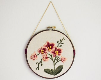 Pink Orchids Floral Embroidery Hoop - Mother's Day Gift | Wall Art | Modern Embroidery | Home Decor Gift | Hand Embroidery | Hoop