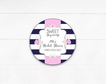 Navy & White Stripe Floral Bridal Shower Labels, Bridal Shower Thank you Favor Tag, Sweet Beginnings, Sweet Favor- Printable, Digital File