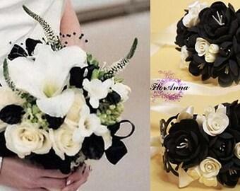 wedding flower, bride bouquet, bride bracelet, black bride bouquet, black and white bouquet, black bride, lily bride bouquet, bridesmaid