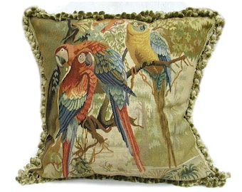 22″ x 22″ Handmade French Gobelins Tapestry Weave Wool Aubusson Parrots Cushion Cover Pillow Case 12980005