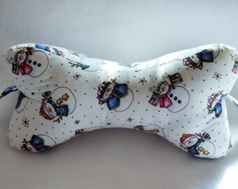 Dog Bone Neck Pillow- Snowmen