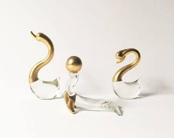 Glass Swans Animal figurines glass animals seal gold accents Penco