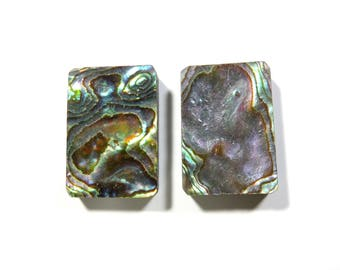 40% OFF,2 Piece Natural Abalone Shell,Rectangle Cabochon,14X21X4MM TO 14X21X3 MM Size,Abalone Shell Jewelry,In Low Price Code:AG258
