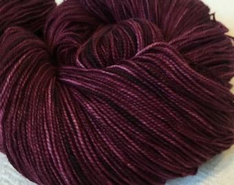 hand dyed sock weight yarn Song of Sirens Shawl Length Super Skein Superwash Merino Cashmere Nylon MCN 600 yards fingering weight maroon