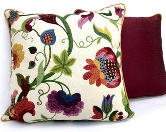 Burgundy Pillow Cover, Shumacher Multicolor Floral Linen Blend Custom Decorative Pillow Cover, Throw Pillow Cover, Toss Cushion Cover, Size: