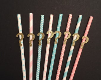 Gender Reveal Pink and Blue Straws, Customize Assorted Colors Paper Straws, Party Straws, Pink and Blue Paper Straws