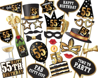 55th birthday Photo Booth props - Instant Download printable PDF. Fifty fifth birthday party Photo Booth supplies. 55 Today - 0178