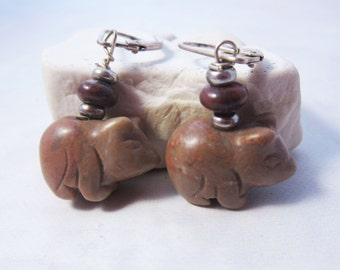 carved stone animal earrings - cute animal earrings - Pig earrings - chubby funny piggy