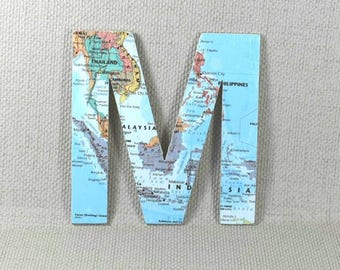 Map wall decor etsy world map wall letters map wall decor hanging wall letters map letters gumiabroncs