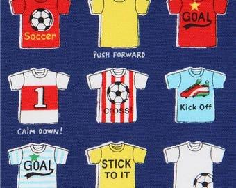 217809 dark blue football soccer T shirt sports oxford fabric by Kokka