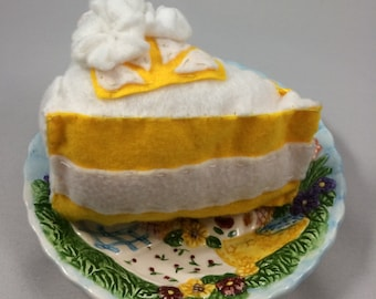 Lemon Chiffon Cake Slice Baby Rattle