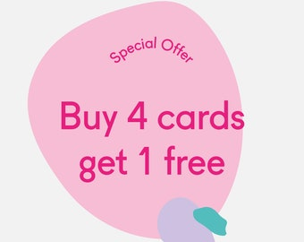 Special Offer - Buy 4 greeting cards get 1 free - Birthday cards - Christmas cards - Holiday cards